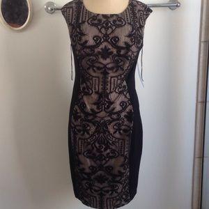 London Times Black w Nude Lace Dress NWT SZ 8